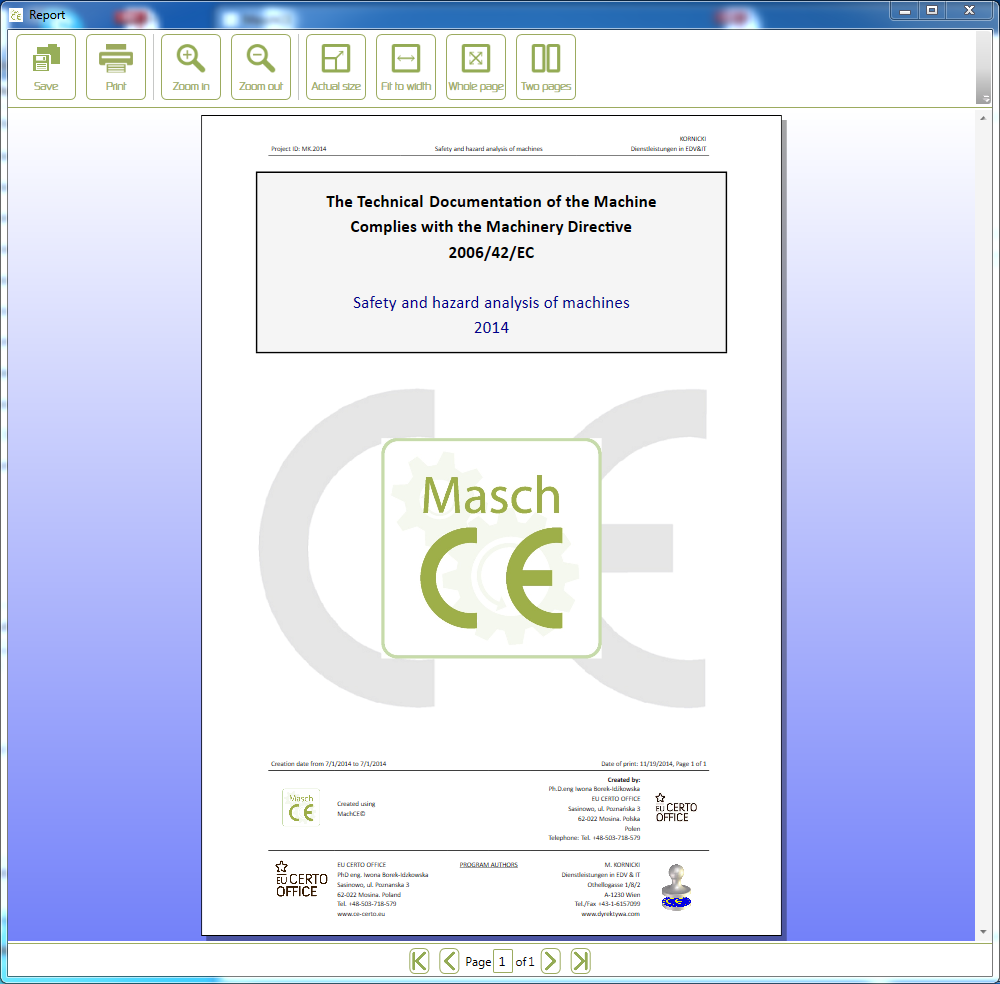 Machinery directives 2006/42/EC, EN ISO 12100 MaschCE